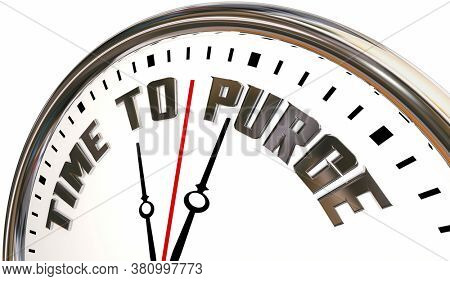 Time to Purge Clock Clean Up Discard Waste 3d Illustration