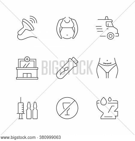 Set Line Icons Of Pregnancy Isolated On White. Ultrasound Test, Ambulance Car, Maternity Hospital, A