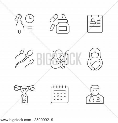 Set Line Icons Of Pregnancy Isolated On White. Drug Capsule, Medical Card, Artificial Insemination,