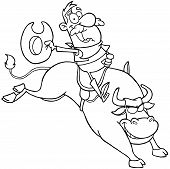 Outlined Cowboy Riding Bull In Rodeo Cartoon Character poster