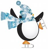 Christmas Penguin with Blue Hat and Scarf Ice Skating Illustration poster