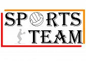 Vector sports team logo with ball, Silhouette and frame poster