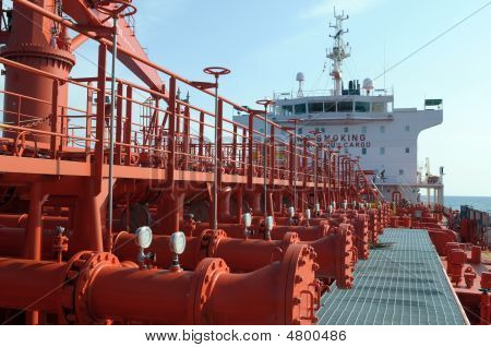 Pipes On The Deck Of The Tanker