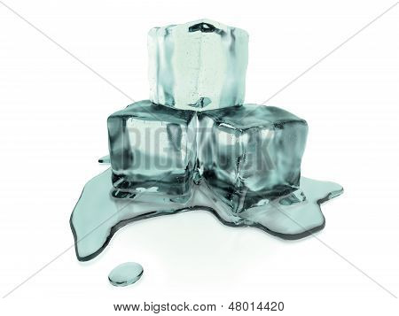 3d rendered melting ice cubes