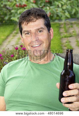 Man Enjoying Beer During Summer