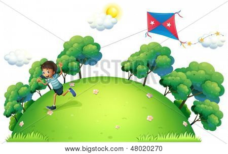 Illustration of a boy flying a kite on a white background