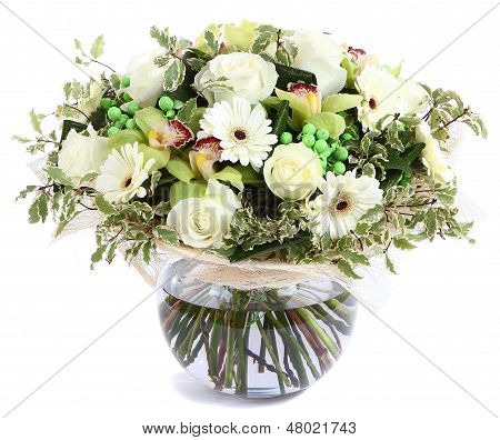 Floral Composition In Glass, Transparent Vase: White Roses, Orchids, White Gerbera Daisies, Green Pe