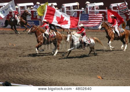 Cowgirls Galloping On Horseback