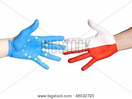 Handshake Between Europe And Poland