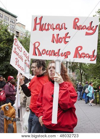 NEW YORK-MAY 25: At the March Against Monsanto in Union Square a protestor holds a sign that says 'Human Ready Not Roundup Ready' in a global movement against GMO's on May 25, 2013 in Manhattan.