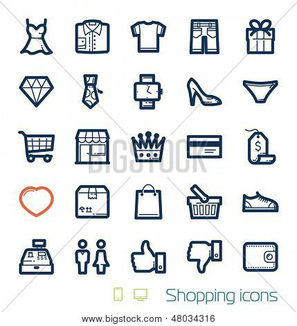 Shopping icons set Perfect lines