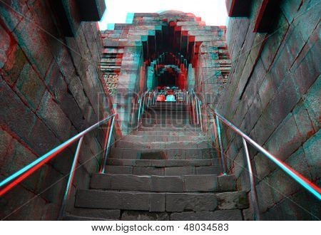 Borobudur Temple.Java.Indonesia. Anaglyph stereo.(you need use cyan/red glasses to take 3d effect)