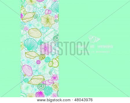 Vector seashells line art horizontal decor seamless pattern background with hand drawn elements. poster