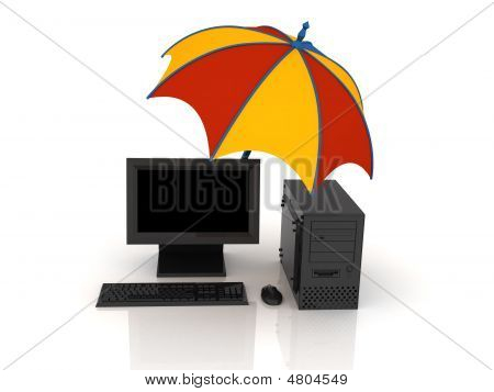 Umbrella And Computer