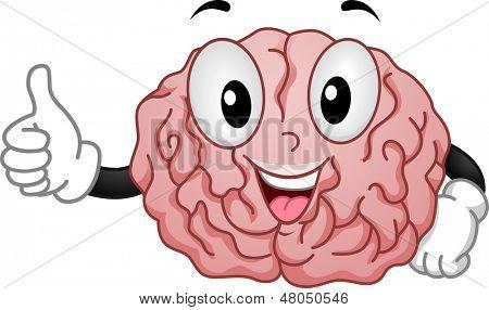 Illustration of Happy Brain Mascot Sporting OK Handsign