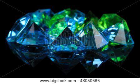 Diamonds on dark color background poster