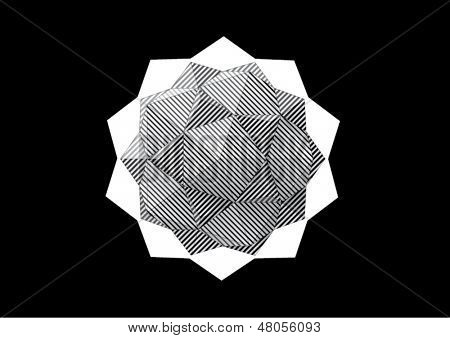 dodecahedron-Icosahedron with black and white striped faces