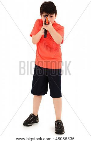 Handsome French American Boy Aiming Plastic Toy AK47 Towards Cam