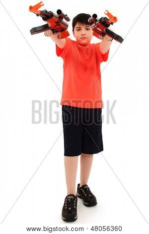 Handsome French American Boy Aiming Two  Plastic Toy AK47 Forward.