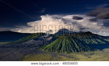 Landscape Of Volcanoes In Bromo Mountain
