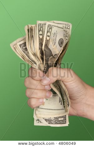 Woman Gripping Cash