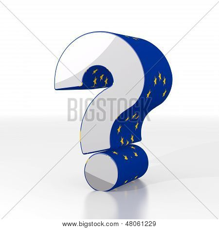 3D Render Of A Isolated Question Icon  With Eu Flag Pattern