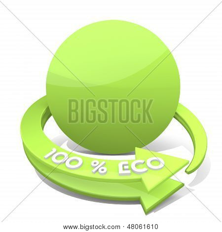 3D Render Of A Round Circle Sign  A 100 Percent Eco