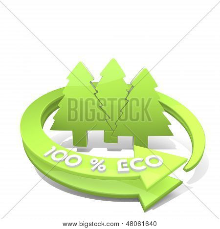 Abstract Group Of Trees Symbol  A 100 Percent Eco