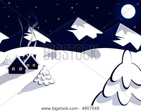 vector winter landscape with houses over mountains and sky poster