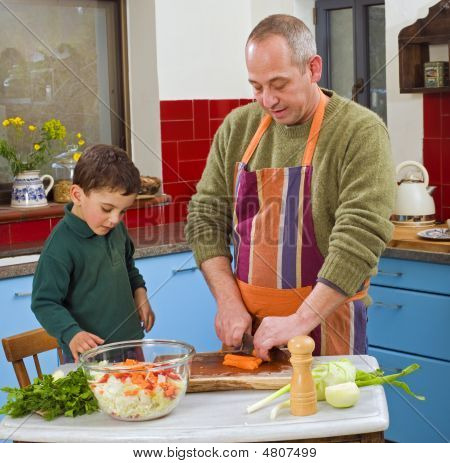 Father And Child Cooking