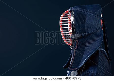 Close-up portrait of kendo fighter. Asian martial arts.