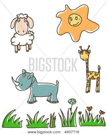 Funny animals ahd a sun illustration in childish manner poster