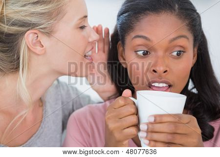 Blonde woman whispering secret to her friend who is surprised