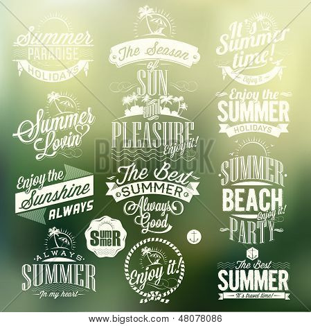 Retro Elements For Summer Calligraphic Designs