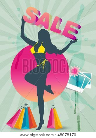 Shopping sale summer theme banner
