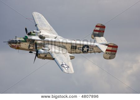 A B25 Mitchell Bomber Does A Flyby At The Airshow