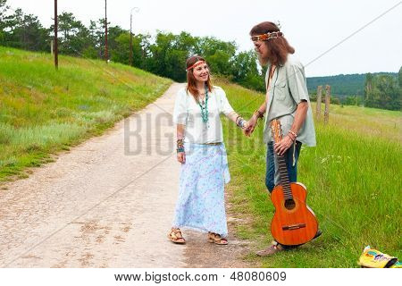 Couple Happy Hippie On The Road