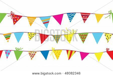 Seamless pattern with bunting flags