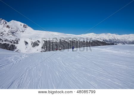 Ski Piste In Pyrenees Mountains