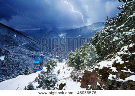 Cable Car And Lighting Storm