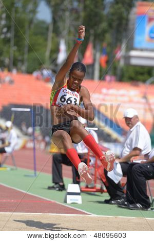 DONETSK, UKRAINE - JULY 13: Kristal Liburd, Saint Kitts And Nevis, in long jump competitions during World Youth Championships in Donetsk, Ukraine on July 13, 2013