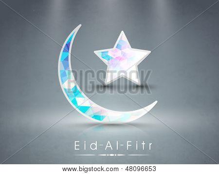 Muslimische Gemeinschaft Festival Eid Al Fitr (Eid Mubarak) mit glänzend bunten Mond und Stern auf grau Zwillingsvulkane