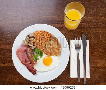 Traditional dish of a full English breakfast poster