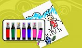 Illustration of Picture with colour pencil in colour background poster