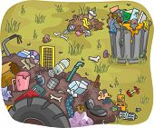 Illustration of Waste Dump in a Field poster