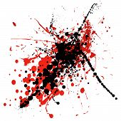 red and black ink splat with blood like dribble poster