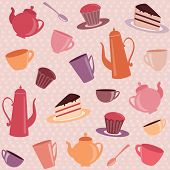 Tea pattern with cups, teapots and cakes poster