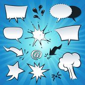 Illustration of a set of cartoon pop comic speech bubbles explosion splashes spray and design elements poster
