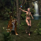 A woman warrior and her companion Tiger hear something in the jungle. poster