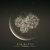 Shiny illustration of crescent of moon with fireworks in the night on occasion of muslim community festival Eid Al Fitr (Eid Mubarak). poster